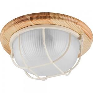 Светильник накладной IP54, 220V 60Вт Е27, дерево, клен, круг, с решеткой, НБО 03-60-012