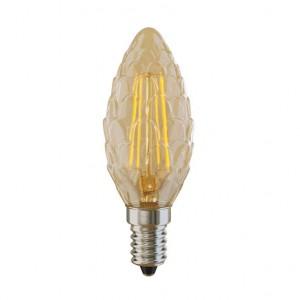 Лампа светодиодная филаментная Voltega E14 4W 2800К свеча шишка золотая VG10-P3E14warm4W-F 5488